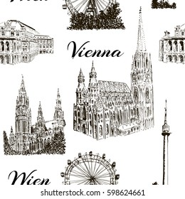 Set of Vienna symbols. Donauturm, Stephansdom, Rathaus, Prater, Vienna State Opera House. Wiener Staatsoper. Hand drawn sketch seamless pattern vector set. For prints, textile, wrapping, web, template
