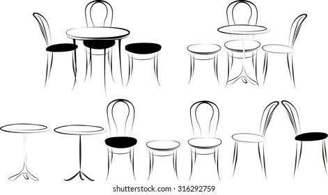 Set Viennese tables and chairs in the style of the sketch.