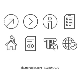 Set of View document, Credit card and Forward icons. Direction, Checklist and World statistics signs. Open file, Atm payment, Next direction. Navigation pointer, Data list, Global report. Vector