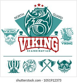 Set of viking emblems, labels and logos. Monochrome style - vector illustration on white background