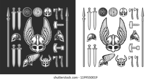 Set Viking items, horned helmet, Winged helmet, Thor's hammer, Mjolnir, spears, shields, helmet, swords, axes, vector