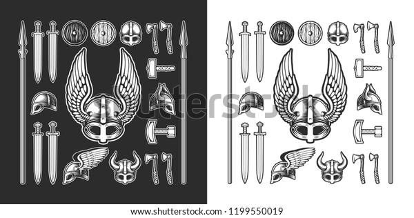 Set Viking Items Horned Helmet Winged Stock Vector Royalty Free 1199550019