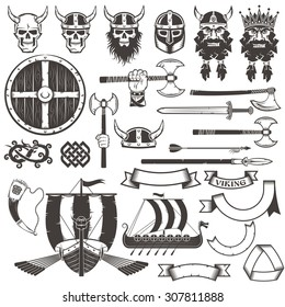 Set Viking items. Skull, horned helmet, face of warrior, shield, ax, sword, arrow, spear, dragon, ribbons, banners, horn, Drakkar.