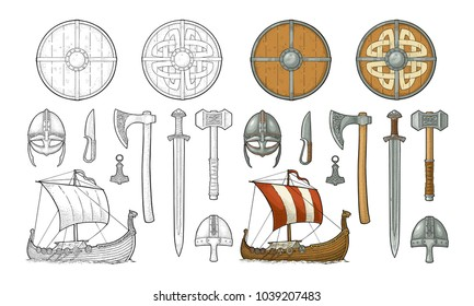 Set viking. Knife, drakkar, axe, helmet, sword, hammer, thor amulet with runes. Vintage vector color engraving illustration isolated on white background. Hand drawn design element for poster, tattoo