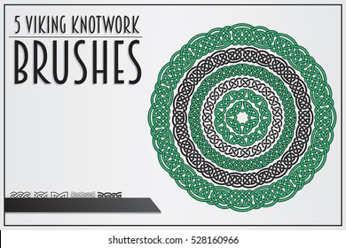 Set of Viking Knotwork Brushes. Celtic Ornament Brushes. Viking Ornament Brushes. Medieval Ornament Brushes.