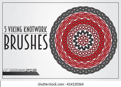 Set of Viking Knotwork brushes for design. Main elements are separated, ready for painting.