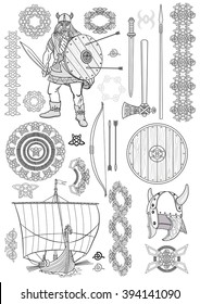 Set Viking life. Man Viking, rowing boat, sword, helmet, ax, spear, bow, arrows, shield, pattern, ornament. Sketch. Vector illustration.