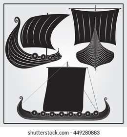 Set of Viking ship icons. All elements can easily be disabled or recolored.