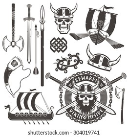 Set of Viking warrior elements. Emblem with skull in a horned helmet. Drakkar, sword, axe, horn, dragon, ornament.