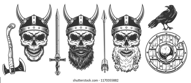 Set of viking warriors. Concepts with skull. Vector illustraiton