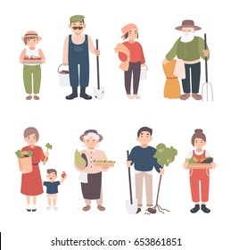 Set of village people. Different young, adult, old farmers and kids. Happy man and woman with seedlings, crops, tools. Colorful vector illustration in cartoon style.