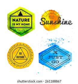 Set of vintage adventure badges and outdoors logo emblems with watercolor splash