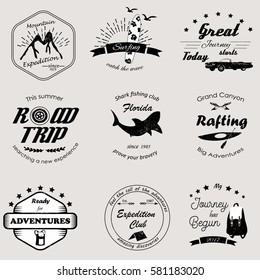 Set of vintage adventure and outdoor logos, emblems and labels.