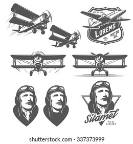 Set of vintage aircraft design elements. Biplanes, pilots, design emblems