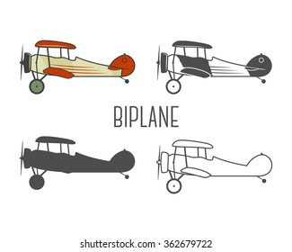 Set Of Vintage Aircraft Design Elements Retro Biplanes In Color Line Silhouette