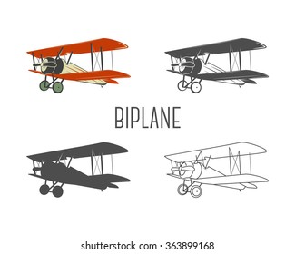 Set of vintage aircraft design elements. Retro Biplanes in color, line, silhouette, monochrome designs. Aviation symbols. Biplane emblem. Old style planes. Isolate on white background
