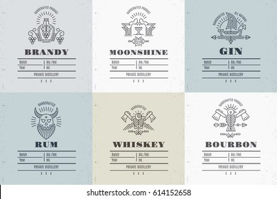 Set of vintage alcohol label design with ethnic elements in thin line style. Distillery industry emblem, distilling business. Monochrome, black on light color. Place for text