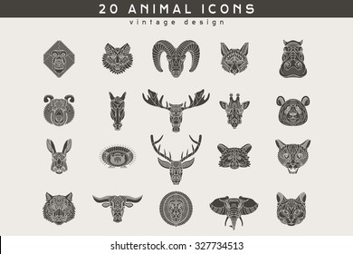 Set of vintage animal icons. Retro vector design  labels, badges, graphic element, emblem, logo, insignia, sign, identity, logotype, poster.