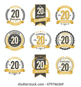 Set of Vintage Anniversary Badges 20th Years Celebration