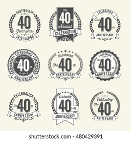 Set of Vintage Anniversary Badges 40th Year Celebration. Black and White.