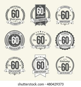 Set of Vintage Anniversary Badges 60th Year Celebration. Black and White. Diamond Anniversary.