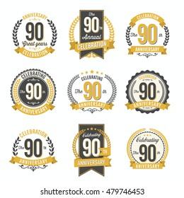 Set of Vintage Anniversary Badges 90th Year Celebration
