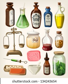 Set of vintage apothecary and medical vector supplies
