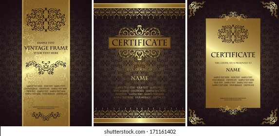 Set of vintage backgrounds with a frames. Luxury design.  Can be used as certificate