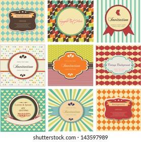 set of vintage backgrounds, labels and invitation card