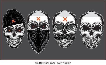 Set of Vintage Badass Skulls Illustration in Graffiti Style.