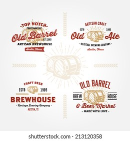Set of vintage badge, label, logo template designs with wooden barrels for beer house, bar, pub, brewing company, brewery, tavern, restaurant, winery, wine whiskey market