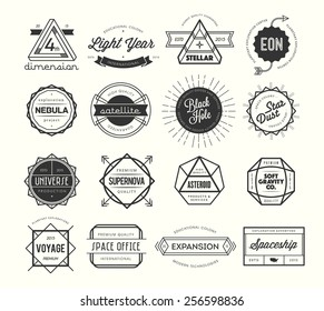 set of vintage badges and labels, inspired by space themes, vector illustration