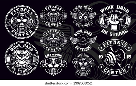 Set of vintage badges, logos, shirt designs for gym. Layered, text is on the separate group, and easy removable.