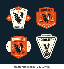 Set of Vintage Badges with Rooster Graphic Mark. Collection of Retro Emblems. Premium Logo Design. Bold and Crisp Style. Vector Illustration.