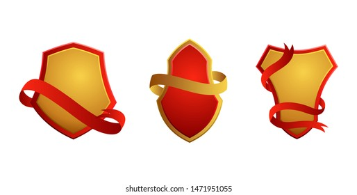 Set of vintage badges. Shields with ribbons. Sale, premium quality, best choice, original vector labels. Vector illustration.