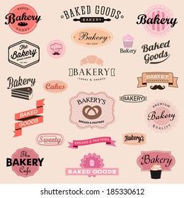 Set of vintage bakery badges and labels