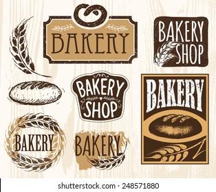 Set of vintage bakery labels, badges and design elements. Handmade.