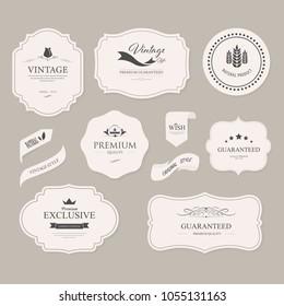 set of vintage banner and badges old fashion. label illustration vector.