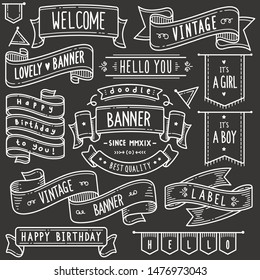 Set of vintage banner and ribbon related objects and elements. Hand drawn vector doodle illustration collection in Blackboard chalk style.