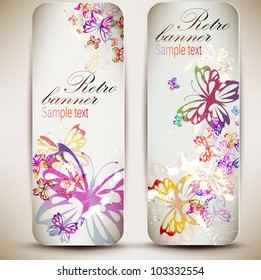 Set of vintage banners with butterfly. Vector background