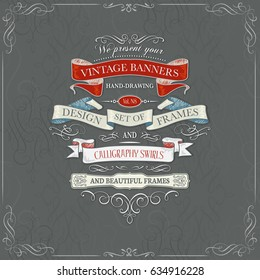 set of vintage banners and swirls