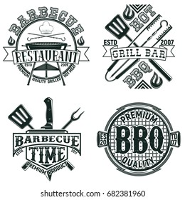 Set of Vintage barbecue restaurant logo designs,  grange print stamps, creative grill bar typography emblems, Vector