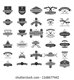 Set of vintage barber shop badges and emblems . EPS 10