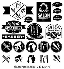 Set Of Vintage Barber Shop Badges