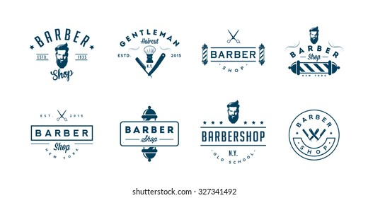 Set of vintage barber shop badges and emblems