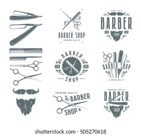 Set of vintage barber shop badges and design elements. Isolated on white background