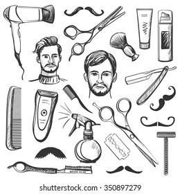 Set of vintage barber shop elements