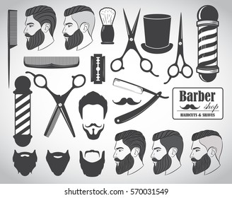 Set of vintage barber shop elements, icons, labels. Vector illustration