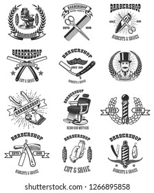 Set of vintage barber shop emblems, badges and design elements.  for logo, label, sign. Vector illustration
