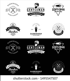 Set Of Vintage Barber Shop Emblems, Badges and Design Elements. Barbershop Logo, Label, Sign .